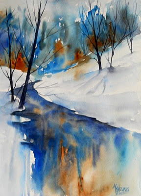 inverno-11 - blue reflerctions - waercolor by martha kisling